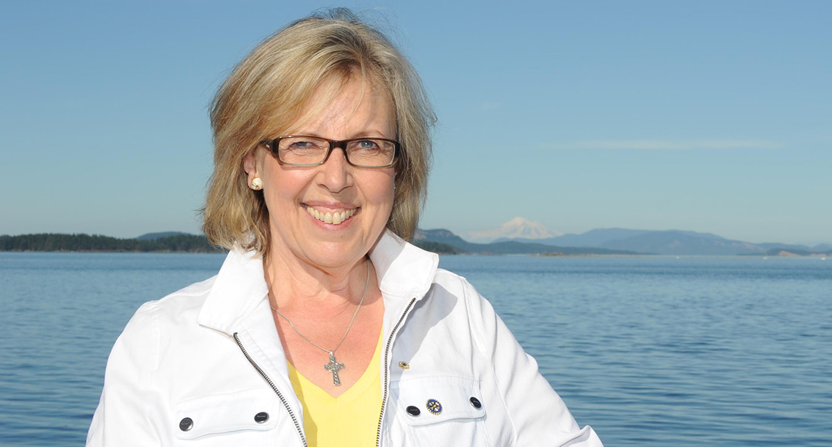 Elizabeth May, on the water in Sidney.