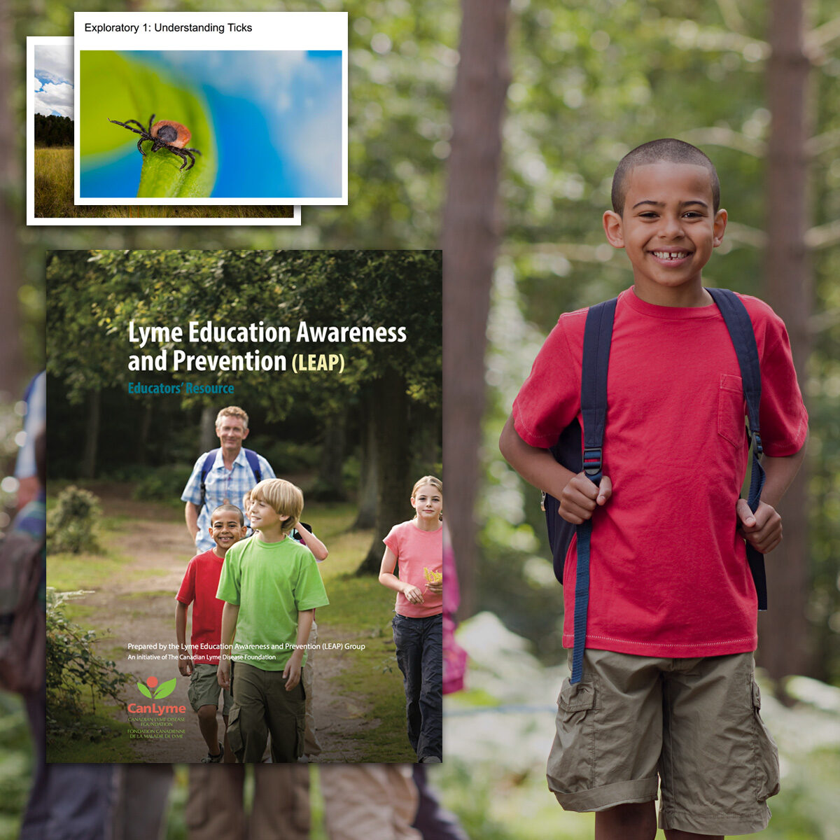 Resource cover and slides float in the air beside a young person enjoying the outdoors.