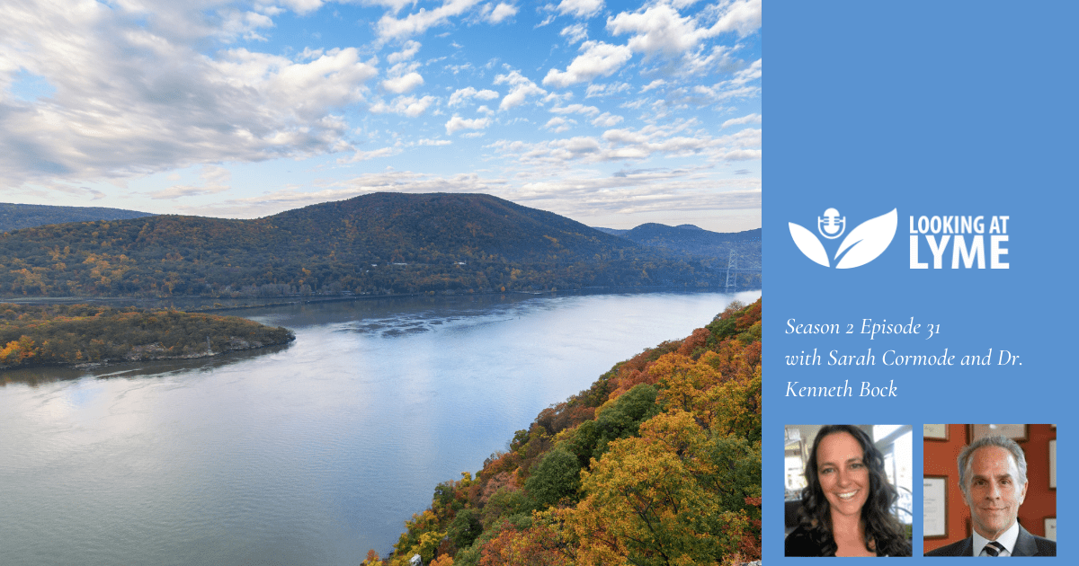 Episode 31 cover image: an image of the Hudson River Valley and headshots of Sarah Cormode and Dr. Kenneth Bock.