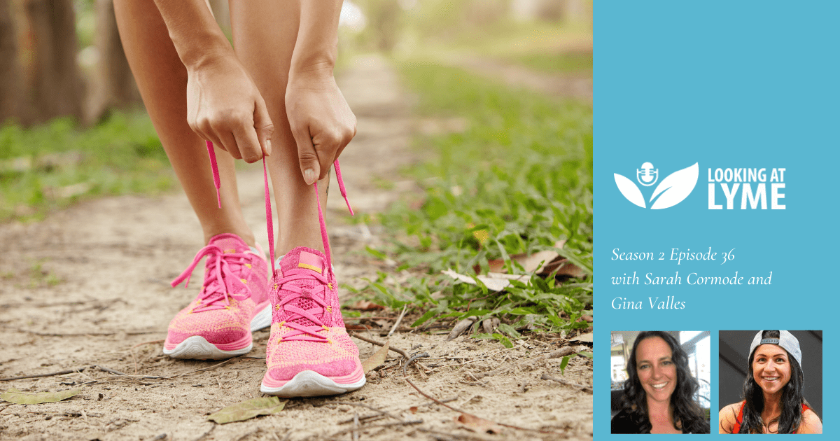 Episode 36 cover image: a person ties their running shoes on a trail, headshots of Sarah Cormode and Gina Valles