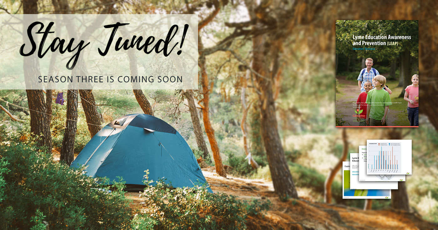 The words, stay tuned, float over top of a ten nestled in a quiet arbutus tree grove where someone is camping for the summer break.